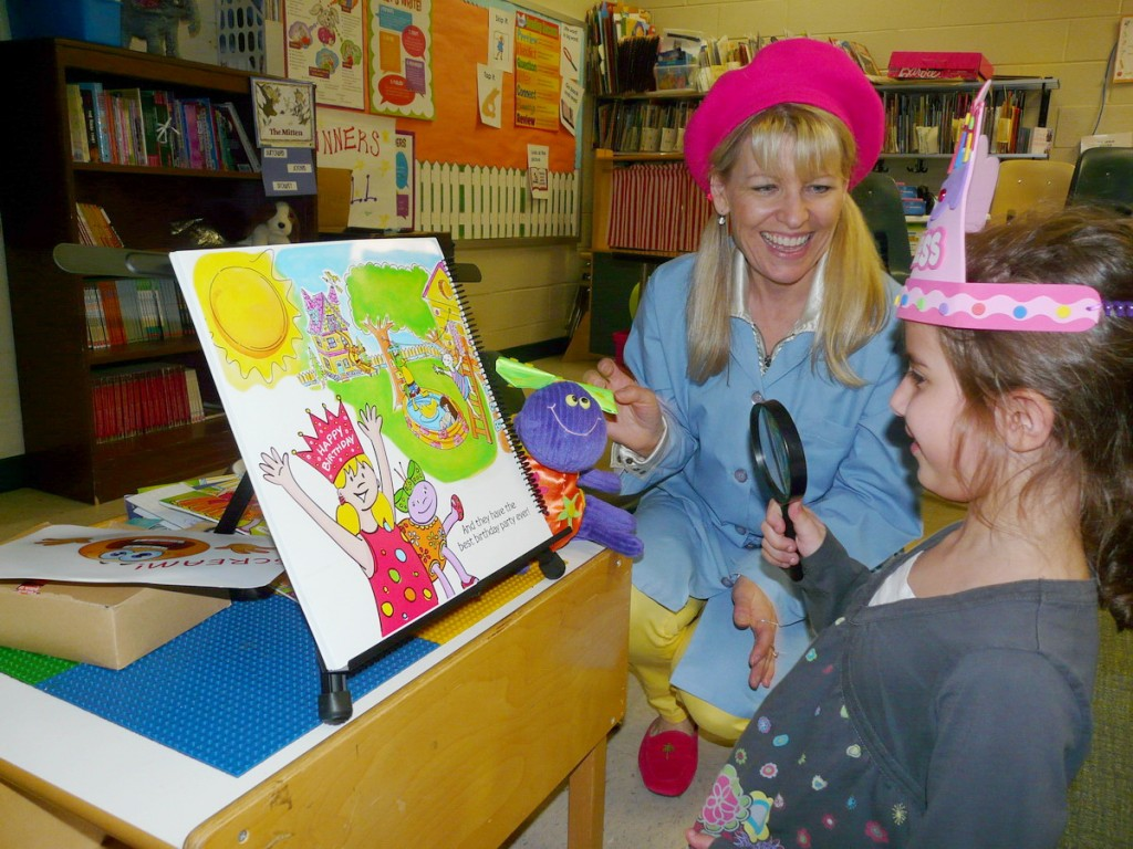 A beautiful princess experimenting reading with the magnifying glass.